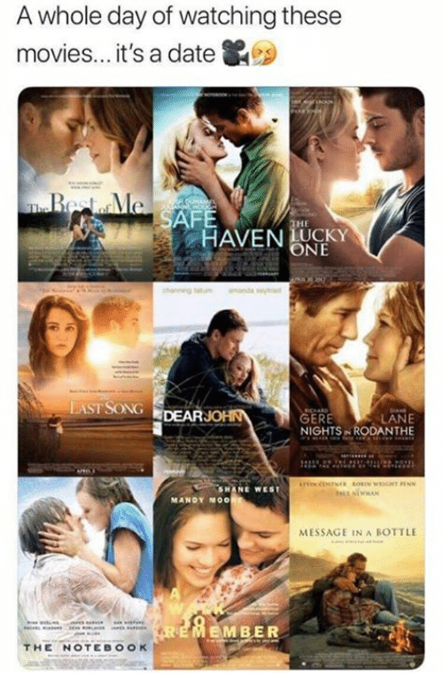 message in a bottle: A whole day of watching these  movies... it's a date  AFE  HE  HAVENUKY  ONE  LASTSONG DEARJOHN  GERE  NIGHTS RODANTHE  SHANE WEST  MANDY MOO  MESSAGE IN A BOTTLE  EMBER  THE NOTEBOOK