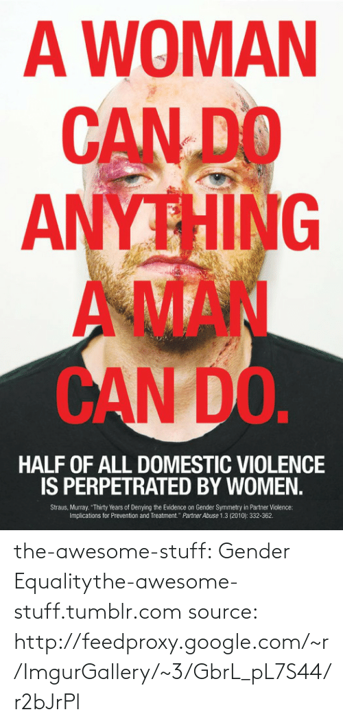 """Aman: A WOMAN  CAN DO  ANYTHING  AMAN  CAN DO.  HALF OF ALL DOMESTIC VIOLENCE  IS PERPETRATED BY WOMEN.  Straus, Murray. """"Thirty Years of Denying the Evidence on Gender Symmetry in Partner Violence:  Implications for Prevention and Treatment."""" Partner Abuse 1.3 (2010): 332-362. the-awesome-stuff:  Gender Equalitythe-awesome-stuff.tumblr.com source: http://feedproxy.google.com/~r/ImgurGallery/~3/GbrL_pL7S44/r2bJrPl"""