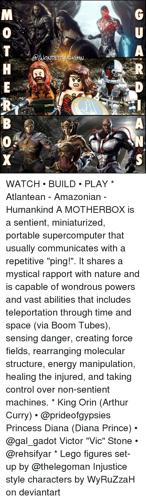 """figuratively: A  @WONDETzyAUCHN  GU  RP-ANS  MOTH E  RB (O X WATCH • BUILD • PLAY * Atlantean - Amazonian - Humankind A MOTHERBOX is a sentient, miniaturized, portable supercomputer that usually communicates with a repetitive """"ping!"""". It shares a mystical rapport with nature and is capable of wondrous powers and vast abilities that includes teleportation through time and space (via Boom Tubes), sensing danger, creating force fields, rearranging molecular structure, energy manipulation, healing the injured, and taking control over non-sentient machines. * King Orin (Arthur Curry) • @prideofgypsies Princess Diana (Diana Prince) • @gal_gadot Victor """"Vic"""" Stone • @rehsifyar * Lego figures set-up by @thelegoman Injustice style characters by WyRuZzaH on deviantart"""