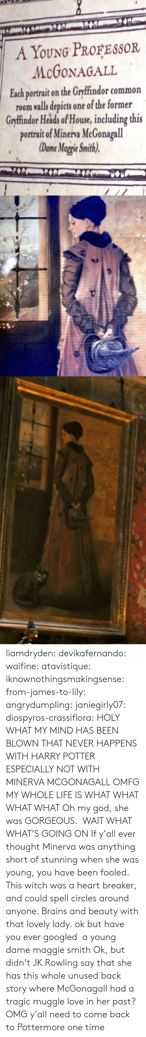 God She: A YOUNG PROFESSOR  McGONAGALL  Each portrait on the Gryffindor common  room valls depicts one of the former  Grfindor Heads of House, including this  portrait of Minerva McGonagall  Dome Magie Smith) liamdryden:  devikafernando:  waifine:  atavistique:  iknownothingsmakingsense:  from-james-to-lily:  angrydumpling:  janiegirly07:  diospyros-crassiflora:  HOLY WHAT MY MIND HAS BEEN BLOWN THAT NEVER HAPPENS WITH HARRY POTTER ESPECIALLY NOT WITH MINERVA MCGONAGALL OMFG MY WHOLE LIFE IS WHAT  WHAT WHAT WHAT  Oh my god, she was GORGEOUS.  WAIT WHAT WHAT'S GOING ON  If y'all ever thought Minerva was anything short of stunning when she was young, you have been fooled. This witch was a heart breaker, and could spell circles around anyone. Brains and beauty with that lovely lady.  ok but have you ever googled a young dame maggie smith  Ok, but didn't JK Rowling say that she has this whole unused back story where McGonagall had a tragic muggle love in her past?  OMG  y'all need to come back to Pottermore one time