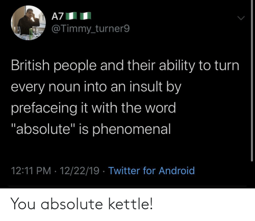 """Ability: A7  @Timmy_turner9  British people and their ability to turn  every noun into an insult by  prefaceing it with the word  """"absolute"""" is phenomenal  12:11 PM · 12/22/19 · Twitter for Android You absolute kettle!"""