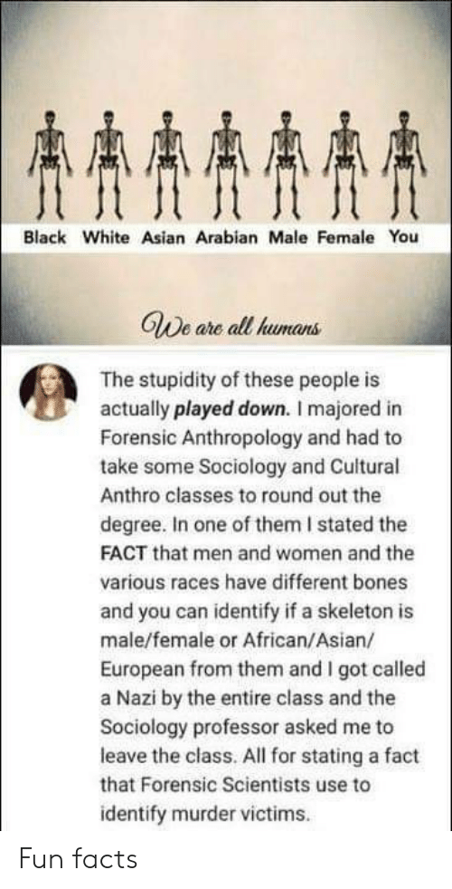 Stated: AAAA  Black White Asian Arabian Male Female You  GWe are all humans  The stupidity of these people is  actually played down. I majored in  Forensic Anthropology and had to  take some Sociology and Cuitural  Anthro classes to round out the  degree. In one of them I stated the  FACT that men and women and the  various races have different bones  and you can identify if a skeleton is  male/female or African/Asian/  European from them and I got called  a Nazi by the entire class and the  Sociology professor asked me to  leave the class. All for stating a fact  that Forensic Scientists use to  identify murder victims Fun facts