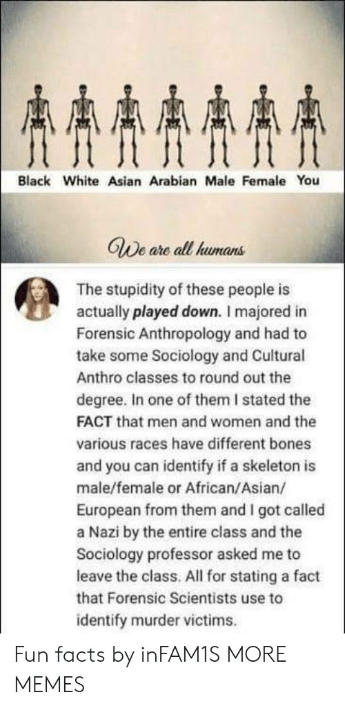 Stated: AAAA  Black White Asian Arabian Male Female You  GWe are all humans  The stupidity of these people is  actually played down. I majored in  Forensic Anthropology and had to  take some Sociology and Cuitural  Anthro classes to round out the  degree. In one of them I stated the  FACT that men and women and the  various races have different bones  and you can identify if a skeleton is  male/female or African/Asian/  European from them and I got called  a Nazi by the entire class and the  Sociology professor asked me to  leave the class. All for stating a fact  that Forensic Scientists use to  identify murder victims Fun facts by inFAM1S MORE MEMES