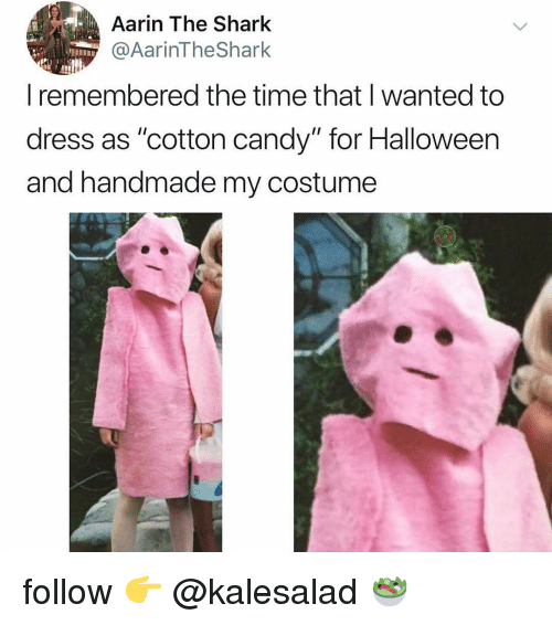 """Candy, Halloween, and Shark: Aarin The Shark  @AarinTheShark  remembered the time that wanted to  dress as """"cotton candy"""" for Halloween  and handmade my costume follow 👉 @kalesalad 🥗"""