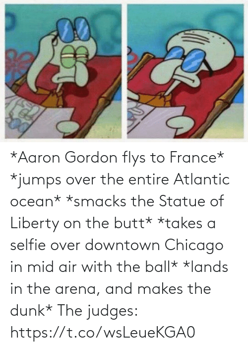 France: *Aaron Gordon flys to France*  *jumps over the entire Atlantic ocean*  *smacks the Statue of Liberty on the butt* *takes a selfie over downtown Chicago in mid air with the ball*  *lands in the arena, and makes the dunk*  The judges: https://t.co/wsLeueKGA0