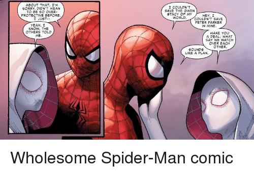 gwen: AB UT THAT, I'm  SORRY, DIDN'T MEAN  TO BE SO OVER-  I COULDN'T  SAVE THE GWEN  STACY OF MY  PROTECTIVE BEFORE  HEY, I  JUST--  WORLD.COULDN'T SAVE  PETER PARKER  IN MINE.  YEAH. I  KNOW. THE  OTHERS TOLD  ME  MAKE YOU  A DEAL, WHAT  SAY WE WATCH  OVER EACH  OTHER  SOUNDS  LIKE A PLAN. Wholesome Spider-Man comic