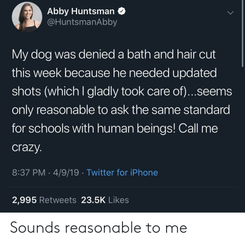 Abby: Abby Huntsman Q  @HuntsmanAbby  My dog was denied a bath and hair cut  this week because he needed updated  shots (which I gladly took care of)...seems  only reasonable to ask the same standard  for schools with human beings! Call me  crazy.  8:37 PM-4/9/19 Twitter for iPhone  2,995 Retweets 23.5K Likes Sounds reasonable to me