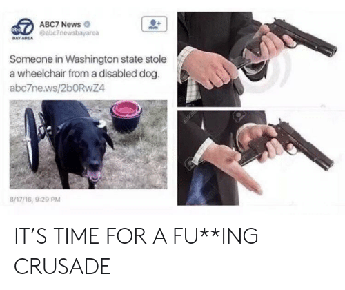 washington state: ABC7 News  eabc7newsbayarea  DAY AREA  Someone in Washington state stole  a wheelchair from a disabled dog.  abc7ne.ws/2bORwZ4  8/17/16, 920 PM IT'S TIME FOR A FU**ING CRUSADE