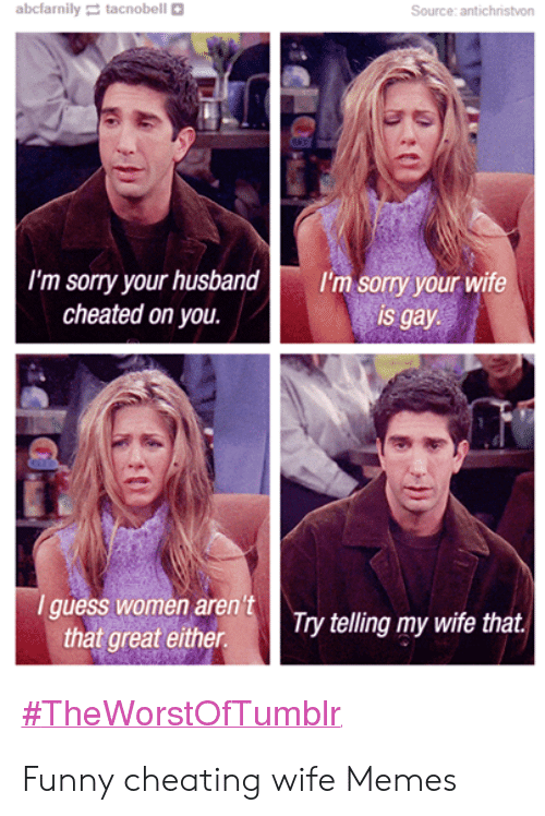 Cheating Wife Memes: abcfarnily tacnobell  Source: antichristvon  I'm sorry your husband  cheated on you.  I'm sorry your wife  is gay  I guess women aren't  that great either  Try telling my wife that.  Funny cheating wife Memes