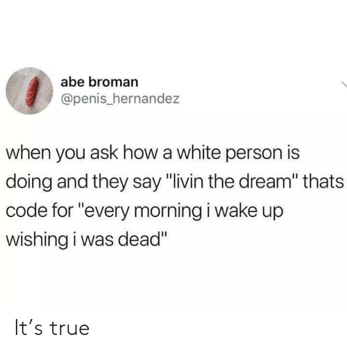 "True, Penis, and White: abe broman  @penis_hernandez  when you ask how a white person is  doing and they say ""livin the dream"" thats  code for ""every morning i wake up  wishing i was dead"" It's true"
