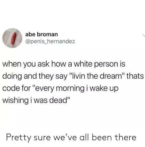 "Penis, White, and Been: abe broman  @penis_hernandez  when you ask how a white person is  doing and they say ""livin the dream"" thats  code for ""every morning i wake up  wishing i was dead"" Pretty sure we've all been there"