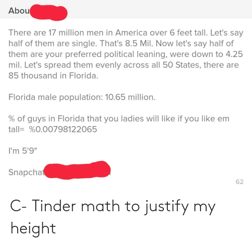"states: Abou  There are 17 million men in America over 6 feet tall. Let's say  half of them are single. That's 8.5 Mil. Now let's say half of  them are your preferred political leaning, were down to 4.25  mil. Let's spread them evenly across all 50 States, there are  85 thousand in Florida.  Florida male population: 10.65 million.  % of guys in Florida that you ladies will like if you like em  tall= %0.00798122065  I'm 5'9""  Snapchat  62 C- Tinder math to justify my height"