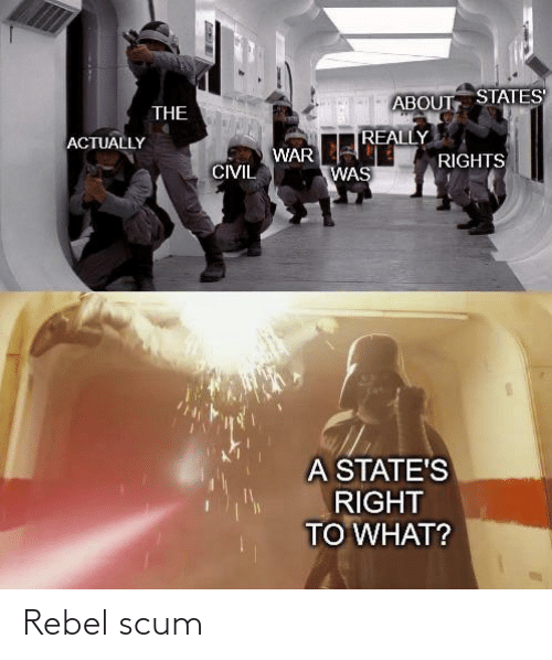 states: ABOUT STATES  THE  REALLY  ACTUALLY  WAR  RIGHTS  CIVIL  WAS  A STATE'S  RIGHT  TO WHAT? Rebel scum