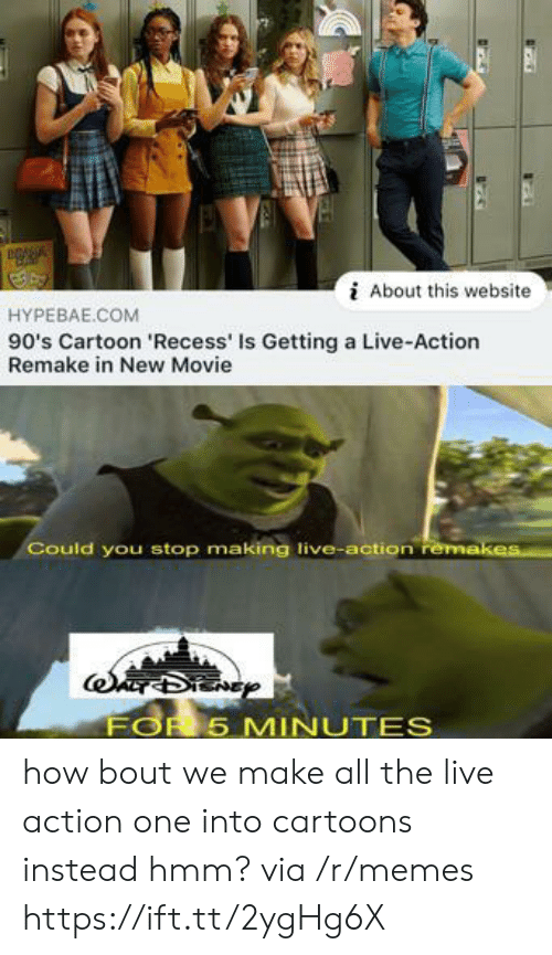 Recess: About this website  HYPEBAE.COM  90's Cartoon 'Recess' Is Getting a Live-Action  Remake in New Movie  Could you stop making live-action remakes  FOR 5 MINUTES how bout we make all the live action one into cartoons instead hmm? via /r/memes https://ift.tt/2ygHg6X