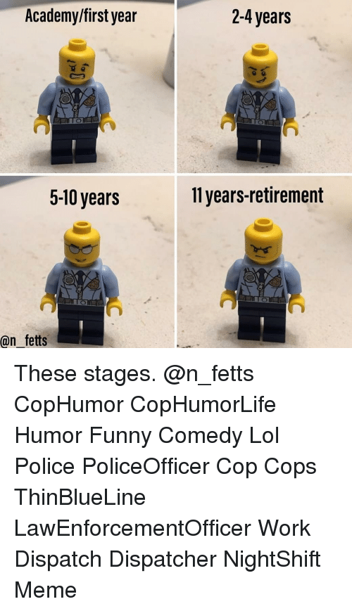 dispatch: Academy/first year  2-4 years  5-10 years  11 years-retirement  @n fetts These stages. @n_fetts CopHumor CopHumorLife Humor Funny Comedy Lol Police PoliceOfficer Cop Cops ThinBlueLine LawEnforcementOfficer Work Dispatch Dispatcher NightShift Meme
