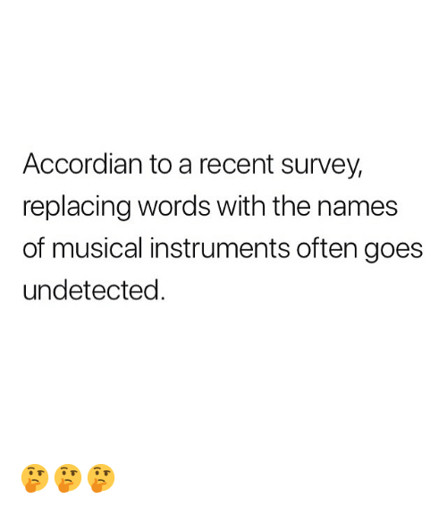 Memes, 🤖, and Names: Accordian to a recent survey,  replacing words with the names  of musical instruments often goes  undetected 🤔🤔🤔