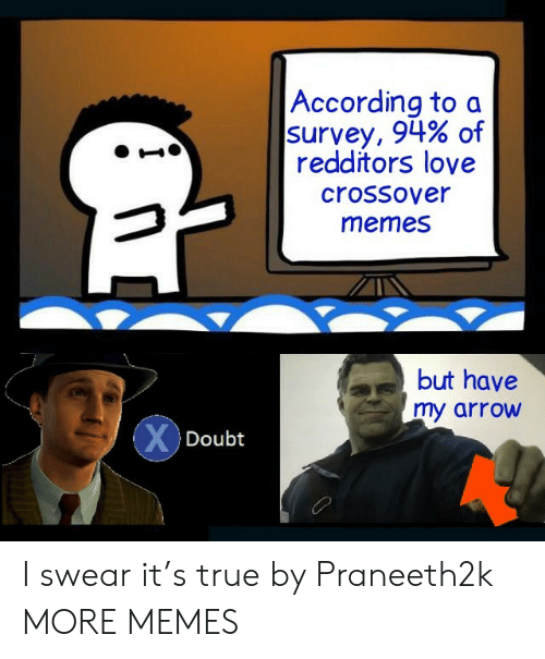 Dank, Love, and Memes: According to a  survey, 94% of  redditors love  crossover  memes  but have  my arrow  XDoubt I swear it's true by Praneeth2k MORE MEMES