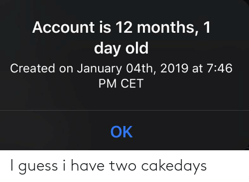 cet: Account is 12 months, 1  day old  Created on January 04th, 2019 at 7:46  PM CET  OK I guess i have two cakedays