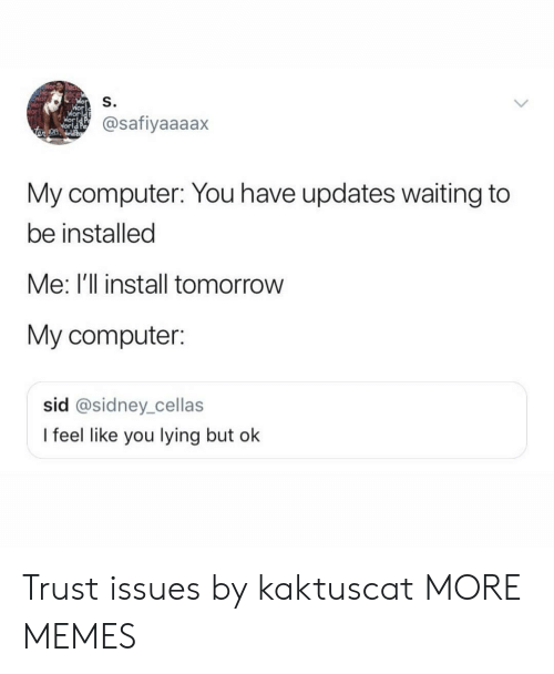 Wor: ace  S.  Wor  @safiyaaaax  On  My computer: You have updates waiting to  be installed  Me: I'll install tomorrow  My computer:  sid @sidney_cellas  I feel like you lying but ok Trust issues by kaktuscat MORE MEMES
