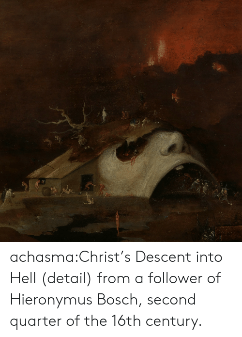 century: achasma:Christ's Descent into Hell(detail) from a follower of Hieronymus Bosch,second quarter of the 16th century.