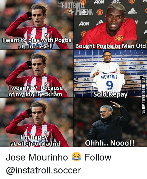 acon: ACON  AON  I want  to play with Pogba  at club level  Bought Pogba to Man Utd  lila  GOVEoLIA  MEMPHIS  VCOLLA  HYunORII  ollaa  wear Nr.57 because  of my idol-Beckham  Sold Depay  I'm happy  at Atletico Madrid  Ohhh.. Nooo! Jose Mourinho 😂 Follow @instatroll.soccer