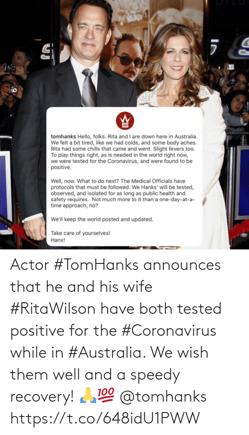 Australia: Actor #TomHanks announces that he and his wife #RitaWilson have both tested positive for the #Coronavirus while in #Australia. We wish them well and a speedy recovery! 🙏💯 @tomhanks https://t.co/648idU1PWW