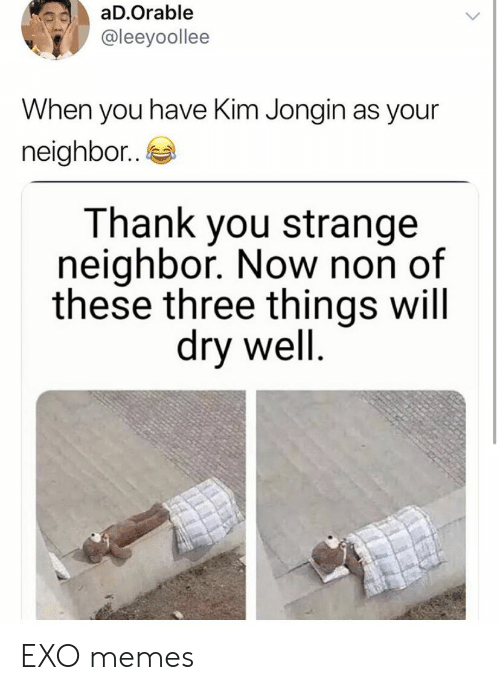 Memes, Thank You, and Exo: aD.Orable  @leeyoollee  When you have Kim Jongin as your  neighbor..  Thank you strange  neighbor. Now non of  these three things will  dry well EXO memes