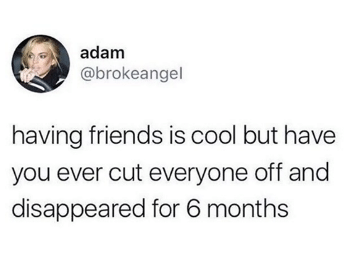 Friends, Cool, and Humans of Tumblr: adam  @brokeangel  having friends is cool but have  you ever cut everyone off and  disappeared for 6 months