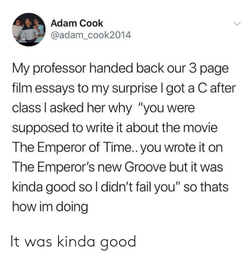 "Emperor's New Groove, Fail, and Good: Adam Cook  @adam_cook2014  My professor handed back our 3 page  film essays to my surprise I got a C after  class Il asked her why ""you were  supposed to write it about the movie  The Emperor of Time.. you wrote it on  The Emperor's new Groove but it was  kinda good so l didn't fail you"" so thats  how im doing It was kinda good"
