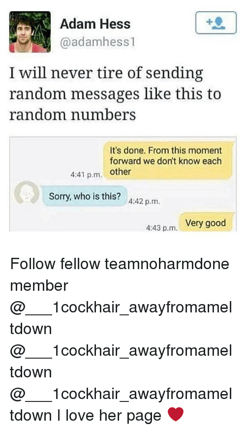 adamant: Adam Hess  @adamhess1  I will never tire of sending  random messages like this to  random numbers  It's done. From this moment  forward we don't know each  4:41 p.m. other  Sorry, who is this? 4:42 p.m.  Very good  4:43 p.m. Follow fellow teamnoharmdone member @___1cockhair_awayfromameltdown @___1cockhair_awayfromameltdown @___1cockhair_awayfromameltdown I love her page ❤️