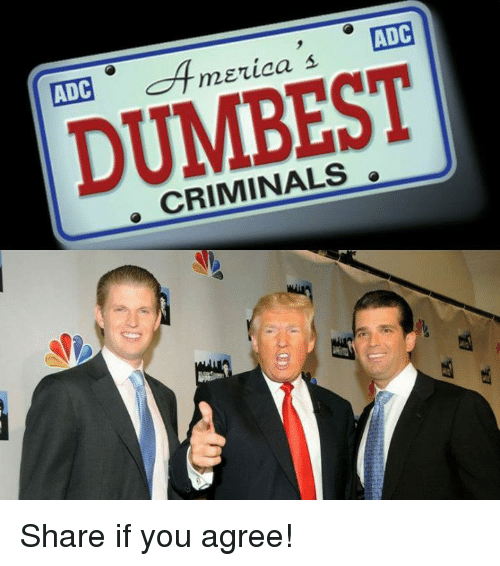 adc: ADC  ADC  DUMBEST  CRIMINALS Share if you agree!