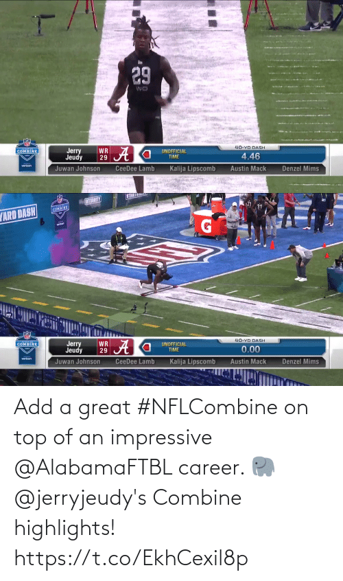great: Add a great #NFLCombine on top of an impressive @AlabamaFTBL career. 🐘  @jerryjeudy's Combine highlights! https://t.co/EkhCexil8p