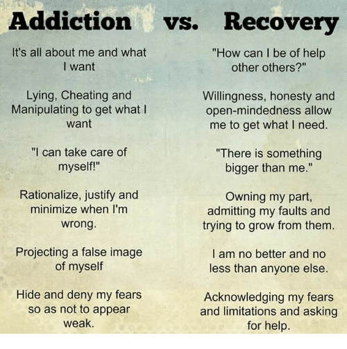 """minimates: Addiction  vs. Recovery  It's all about me and what  """"How can I be of help  other others?""""  I want  Lying, Cheating and  Willingness, honesty and  Manipulating to get what l  open-mindedness allow  want  me to get what I need.  """"I can take care of  """"There is something  myself!""""  bigger than me.""""  Rationalize, justify and  Owning my part,  minimize when I'm  admitting my faults and  wrong.  trying to grow from them  Projecting a false image  I am no better and no  of myself  less than anyone else  Hide and deny my fears  Acknowledging my fears  so as not to appear  and limitations and asking  weak.  for help."""