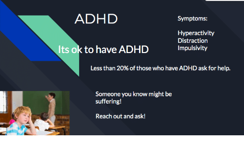 Its Ok: ADHD  Symptoms:  Hyperactivity  Distraction  Its ok to have ADHD  Impulsivity  Less than 20% of those who have ADHD ask for help.  Someone you know might be  suffering!  Reach out and ask!