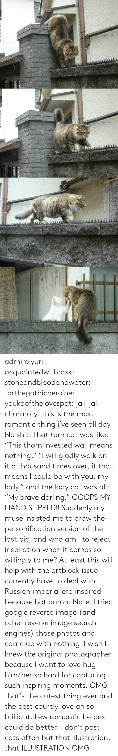 "post: admiralyurii: acquaintedwithrask:  stoneandbloodandwater:  forthegothicheroine:  youkoofthelovespot:  jali-jali:  charmory:  this is the most romantic thing i've seen all day  No shit. That tom cat was like: ""This thorn invested wall means nothing."" ""I will gladly walk on it a thousand times over, if that means I could be with you, my lady."" and the lady cat was all: ""My brave darling."" OOOPS MY HAND SLIPPED!!  Suddenly my muse insisted me to draw the personification version of the last pic, and who am I to reject inspiration when it comes so willingly to me? At least this will help with the artblock issue I currently have to deal with. Russian imperial era inspired because hot damn. Note: I tried google reverse image (and other reverse image search engines) those photos and came up with nothing. I wish I knew the original photographer because I want to love hug him/her so hard for capturing such inspiring moments.  OMG that's the cutest thing ever and the best courtly love ah so brilliant.  Few romantic heroes could do better.  I don't post cats often but that illustration.  that ILLUSTRATION    OMG"