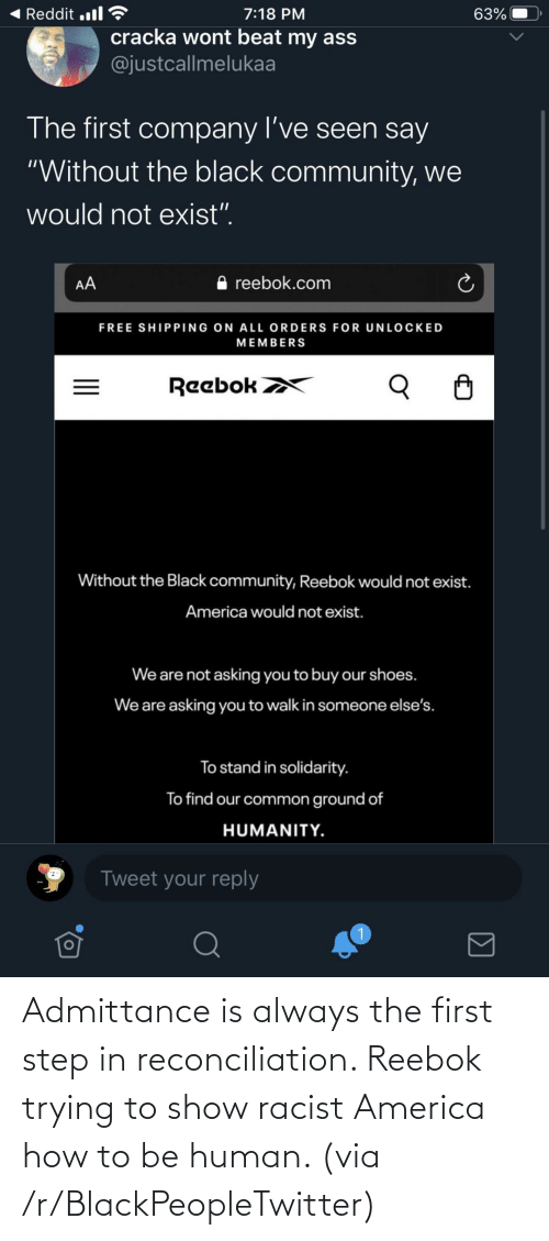 Racist: Admittance is always the first step in reconciliation. Reebok trying to show racist America how to be human. (via /r/BlackPeopleTwitter)