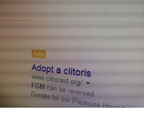 Clitoris, Donate, and For: Adopt a clitoris  wwww.ci or  is  Donate for our Pleasure HoD