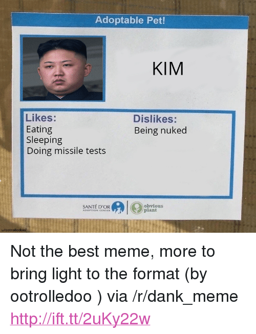 "Dank, Meme, and Best: Adoptable Pet!  KIM  Likes:  Eating  Sleeping  Doing missile tests  Dislikes:  Being nuked  SANTÉ D'OR  obvious  plant  u/ootrolledoo/ <p>Not the best meme, more to bring light to the format (by ootrolledoo ) via /r/dank_meme <a href=""http://ift.tt/2uKy22w"">http://ift.tt/2uKy22w</a></p>"