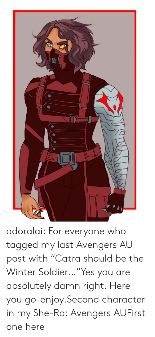 "Tumblr, Winter, and Avengers: adoralai:  For everyone who tagged my last Avengers AU post with ""Catra should be the Winter Soldier…""Yes you are absolutely damn right. Here you go-enjoy.Second character in my She-Ra: Avengers AUFirst one here"