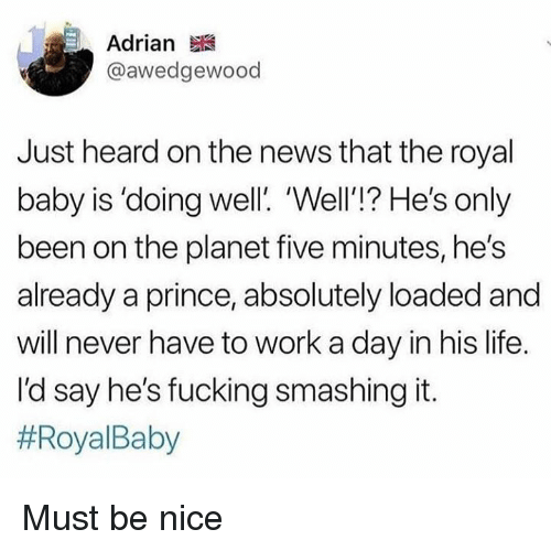 Dank, Fucking, and Life: Adrian  @awedgewood  Just heard on the news that the royal  baby is 'doing well. Well'!? He's only  been on the planet five minutes, he's  already a prince, absolutely loaded and  will never have to work a day in his life.  l'd say he's fucking smashing it.  Must be nice
