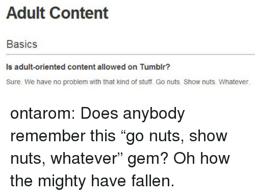 """Tumblr, Blog, and Http: Adult Content  Basics  Is adult-oriented content allowed on Tumblr?  Sure. We have no problem with that kind of stuff. Go nuts. Show nuts. Whatever. ontarom:  Does anybody remember this """"go nuts, show nuts, whatever"""" gem? Oh how the mighty have fallen."""