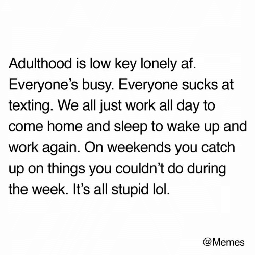Af, Lol, and Low Key: Adulthood is low key lonely af.  Everyone's busy. Everyone sucks at  texting. We all just work all day to  come home and sleep to wake up and  work again. On weekends you catch  up on things you couldn't do during  the week. It's all stupid lol.  @Memes