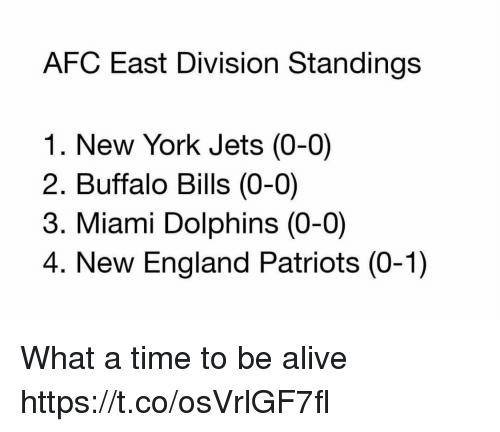 New York Jets: AFC East Division Standings  1. New York Jets (0-0)  2. Buffalo Bills (0-0)  3. Miami Dolphins (0-0)  4. New England Patriots (0-1) What a time to be alive https://t.co/osVrlGF7fl