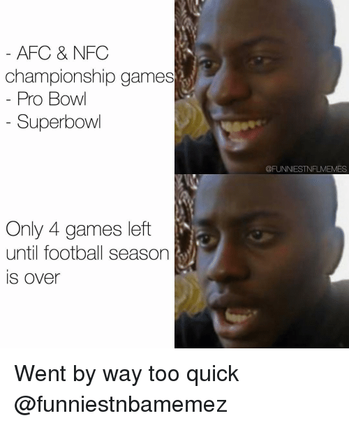 NFC Championship Game, Nfl, and Superbowl: AFC & NFC  championship games  Pro Bow  Superbowl  Only 4 games left  until football season  IS Over  QFUNNIESTNFLMEMES Went by way too quick @funniestnbamemez