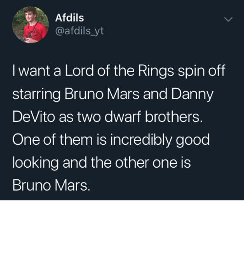 Lord of the Rings: Afdils  @afdils_yt  I want a Lord of the Rings spin off  starring Bruno Mars and Danny  DeVito as two dwarf brothers.  One of them is incredibly good  looking and the other one is  Bruno Mars. I would watch that by Wikabeaux MORE MEMES
