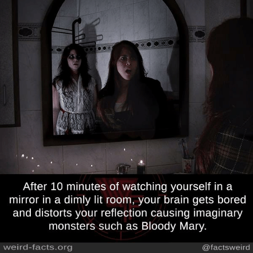 Bloody Mary: After 10 minutes of watching yourself in a  mirror in a dimly lit room, your brain gets bored  and distorts your reflection causing imaginary  monsters such as Bloody Mary.  weird-facts.org  @factsweird