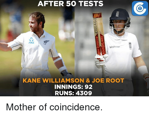 Kane Williamson: AFTER 500 TESTS  ANZ  Waitrose  KANE WILLIAMSON & JOE ROOT  INNINGS: 92  RUNS: 4309 Mother of coincidence.