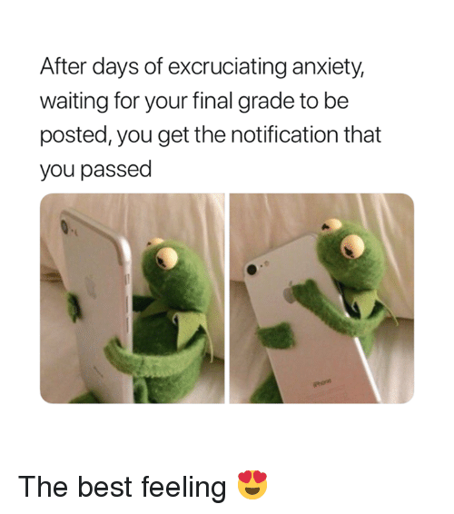 Phone, Anxiety, and Best: After days of excruciating anxiety,  waiting for your final grade to be  posted, you get the notification that  you passed  Phone The best feeling 😍