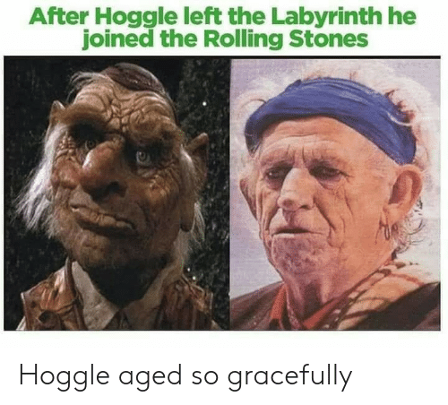Labyrinth: After Hoggle left the Labyrinth he  joined the Rolling Stones Hoggle aged so gracefully