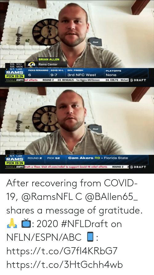 ABC: After recovering from COVID-19, @RamsNFL C @BAllen65_ shares a message of gratitude. 🙏  📺: 2020 #NFLDraft on NFLN/ESPN/ABC 📱: https://t.co/G7fI4KRbG7 https://t.co/3HtGchh4wb
